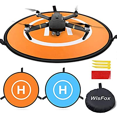 Drone Landing Pad, WisFox Universal Waterproof D 75cm/30'' Portable Foldable Landing Pads for RC Drones Helicopter, PVB Drones, DJI Mavic Pro Phantom 2/3/4 Pro, Antel Robotic, 3DR Solo