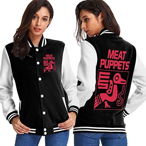 Carne marionetas música indie chaquetas alternativas con cremallera manga larga casual béisbol uniforme Tops para las mujeres Outwear negro