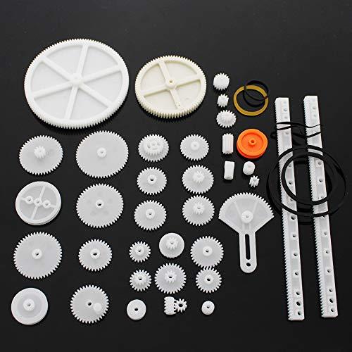 Set di Ingranaggi in plastica 34 Pezzi Singolo Doppio Riduttore Ingranaggio a Vite Senza fine Parti del Robot Kit Fai-da-Te Cremagliera in plastica Bianca