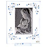 Holyart Cadre Maternité Bleu Argent et Swarovski 19x16 cm