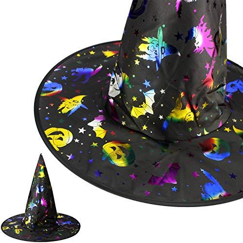 Mabax Hexenhut Dark Rainbow Monster Hut Spitz Schwarz für Kinder für Halloween Kostüm