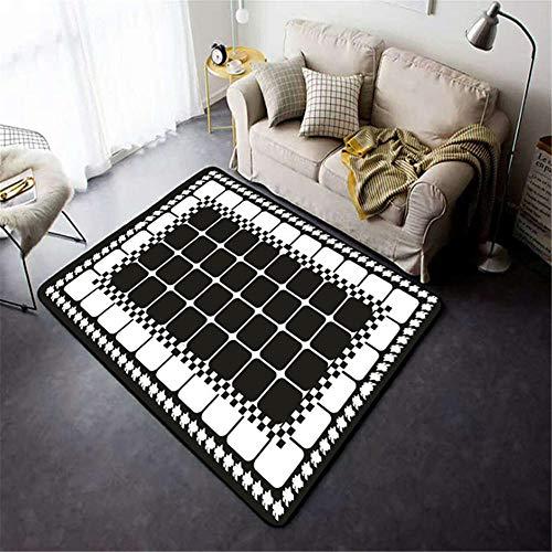 Xiaosua Washable mildew proof Carpets Simple and fashionable white geometric lattice square design pattern living room bedroom carpet anti-allergic Dining Room Carpet Black 200x300cm