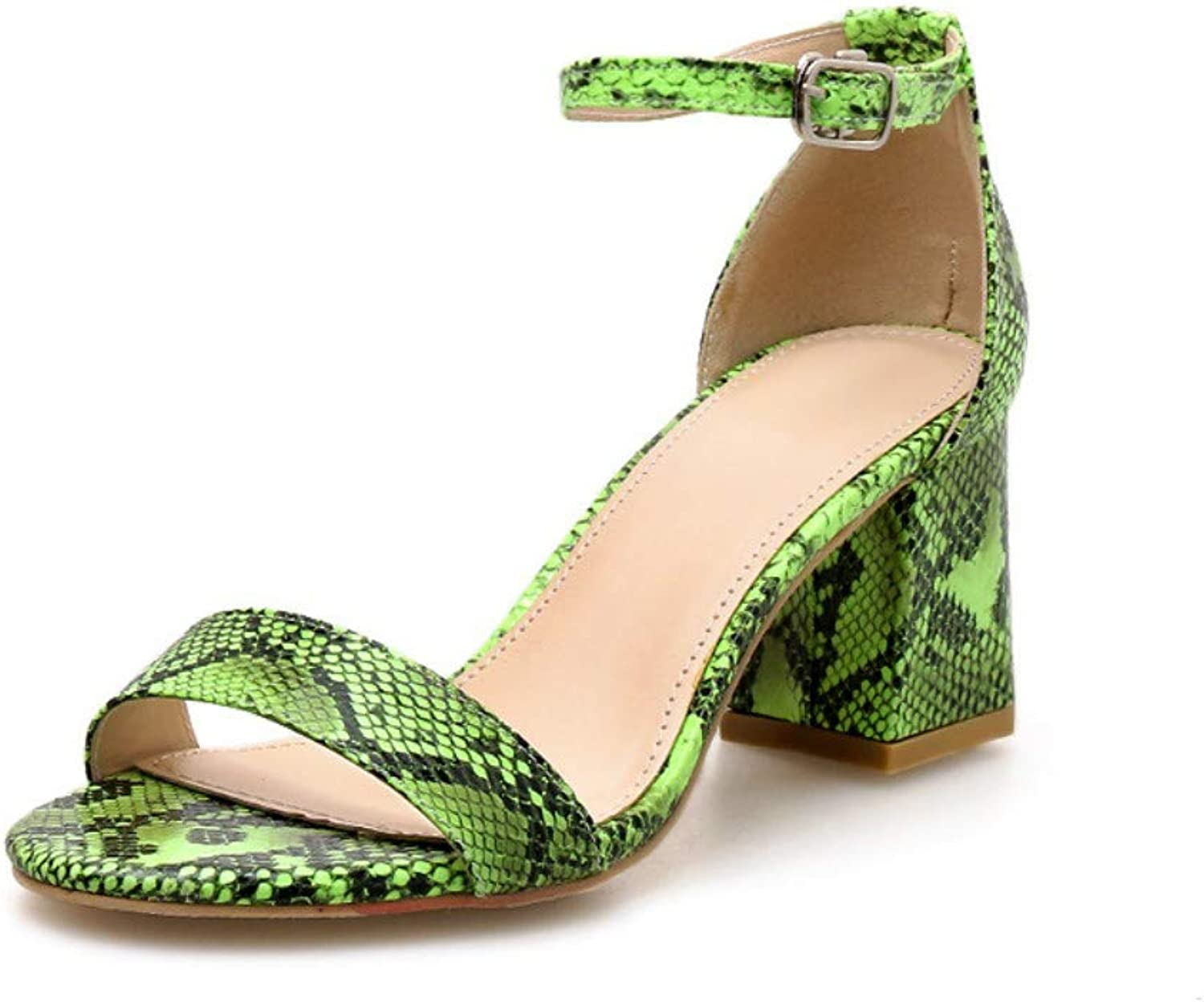 JQfashion Sexy Serpentine Sandals for Ladies High-Heeled shoes Rough-Heeled Roman shoes