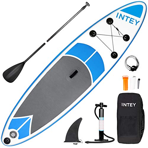 INTEY Inflatable Paddle Board, 10ft Adjustable Paddle Sup Paddle, Stand Up Paddle Board, Double Pump, Safety …