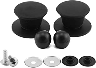 PZRT 2-Pack Universal Pot Lid Cover Knob,Anti-Heat Silicone 2.3 Inch Base Replacement Cookware Pot Lid Handle Circular Handgrip with Screw Nut - Black