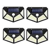 Luz Solar Exterior 100 LED 4 Pack 3 Modos con Sensor de Movimiento, Luces LED Solares Exteriores 270º lluminación Focos Solares Exterior Impermeable Aplique Lampara