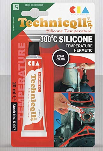 Technicqll Mastic adhésif silicone haute température Noir 20 ml Résistant à la chaleur jusqu