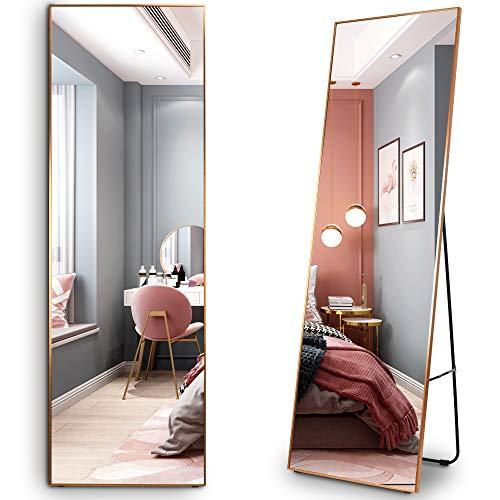 LVSOMT Espejo de Cuerpo Entero de 160 × 50 cm, Espejo de Cuerpo de pie, Espejo de Pared, Espejo de Maquillaje Grande, Espejo de Pared Inclinado, Espejo Grande para Dormitorio, Sala de Estar,Vestuario