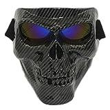 Vhccirt - Maschera da teschio con occhialini antivento tattici da scheletro fantasma spettrale per softair/paintball/motocicletta/moto, Lenti blu in fibra di carbonio.