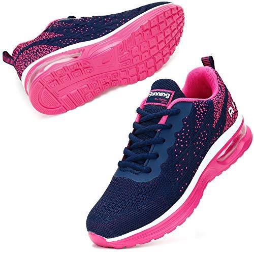 STQ Turnschuhe Damen Laufschuhe Atmungsaktiv Leichtgewichts Sportschuhe Sneaker für Fitness Gym Jogging Dunkelblaue Rose 37 EU