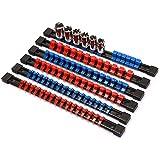 Katigan ABSソケットオーガナイザー、ドライブソケットホルダー、1/4インチのドライブx 32クリップ、3/8インチのドライブx 30クリップ、1/2インチのドライブx 24クリップ、6ピースのセット