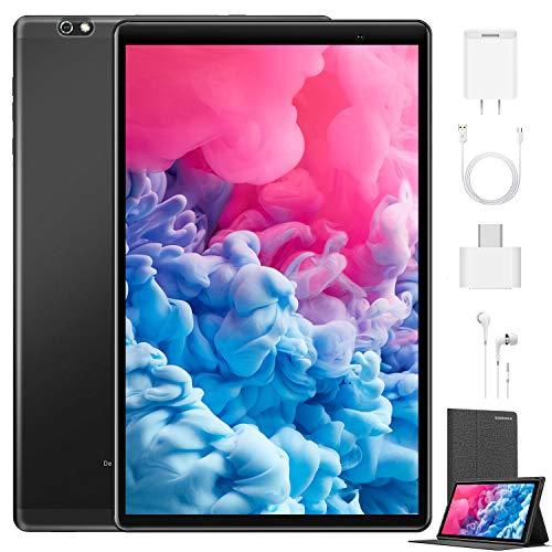Tablet de 10 pulgadas Android 10 64 GB (720p/1080p Full HD) – 4 GB RAM 4 G Dual SIM SD, tabletas Quad Core, tipo C, cámara de 5 MP + 8 MP, batería grande de 8000 mAh, Bluetooth, WiFi, delgada y ligera