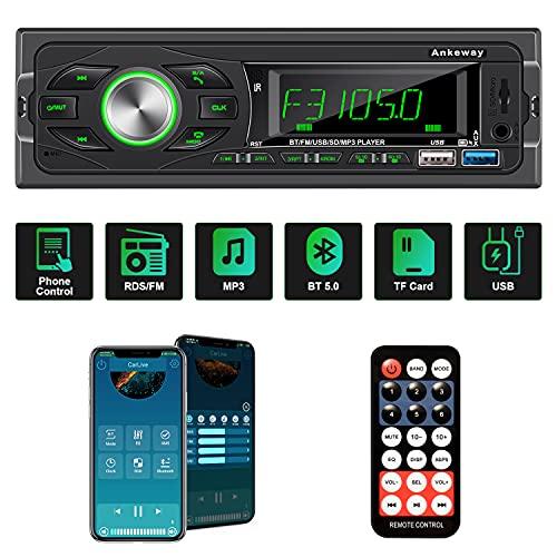 ANKEWAY FM RDS Autoradio Bluetooth 1 DIN Supporta Riattivazione Vocale e Controllo Tramite App,Lettore MP3 con Chiamate in Vivavoce e Telecomando,Bluetooth 5.0 USB TF-card AUX USB 3.0 Carica Rapida