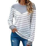 Sudadera de mujer de tamaño grande, sofisticada, manga larga, diseño de rayas, blusa, camisa, suave, cómoda, cuello redondo, corte ajustado, básico, de algodón, para otoño hasta primavera, gris, XXXL