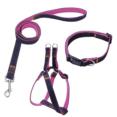 Bark Lover Dog Harness Leash and Collar Matching Sets for Small Puppy Medium Large Dogs Pets, Heavy Duty Nylon with Denim Design, Perfect Accessories for Walking Training Your Dog(M,Pink)