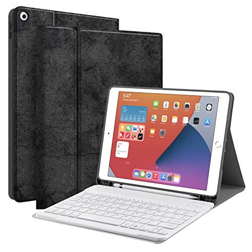 """Keyboard Case for iPad 10.2 8th 7th Generation - JUQITECH Smart Case with Wireless Keyboard iPad 10.2"""" 8th 2020 7th 2019 Slim Tablet Detachable Bluetooth Keyboard Stand Cover with Pencil Holder, Black"""