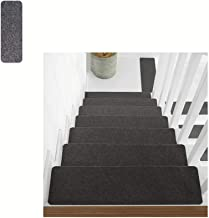 Grey Stair Tread Mats Simple Style of Pads Stair Durable, Protection,Non-Slip, for Home Decor(55 * 20cm,6pcs),Black