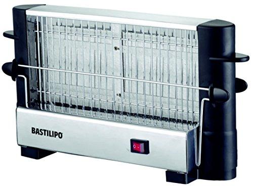 Bastilipo TM-750 Tostador vertical, doble área de tostado, interruptor luminoso, 750 W, Acero Inoxidable, Negro