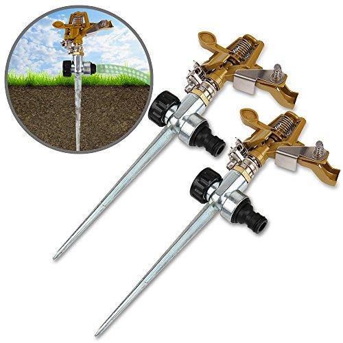 Deuba Sprinkler 2er Set Rasensprenger Kreisregner mit Erdspieß Bewässerungsweite 26m 360° Sprühaufsatz inkl. Kupplungsstecker