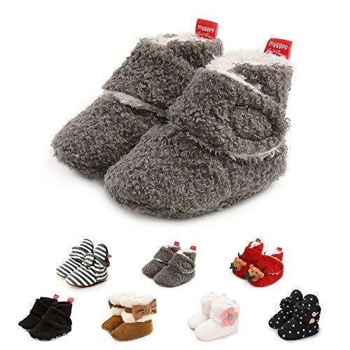 Aisprts Calcetines de forro polar suave para niños y niñas recién nacidos, con antideslizantes, para primeros caminantes, regalo de primer cumpleaños, color Gris, talla 12-18 meses