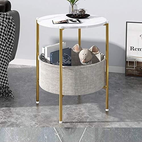 Mazu Homee Mesa de café lateral lateral para sala de estar, comedor, té, decoración del hogar, mini té redondo textura blanca, mesa de revista, mesa de café, patas doradas: 41 x 60 cm