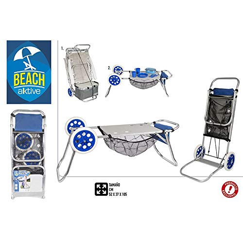Casa & Mas opvouwbare strandwagen, multifunctioneel, als stoelhouder en tafel. Design blauw/praktisch 380 x 70 x 980 mm