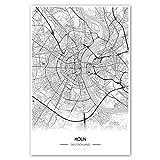 Zulumaps Poster 40x60cm Stadtplan Köln - hochwertiger