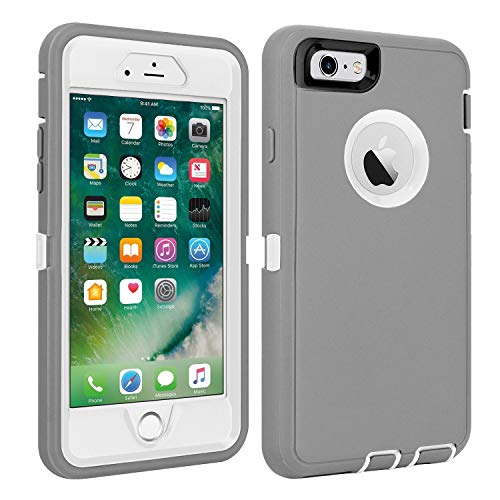 CAFEWICH iPhone 6/6S Case Shockproof High Impact Tough Rubber Rugged Hybrid Case Silicone Triple Protective Anti-Shock Shatter-Resistant Mobile Phone Case for iPhone 6/6S 4.7'(Gray-White)