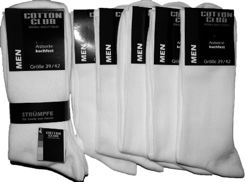 Cotton Club Herren Arzt-Socken weiß (43-46, weiß)
