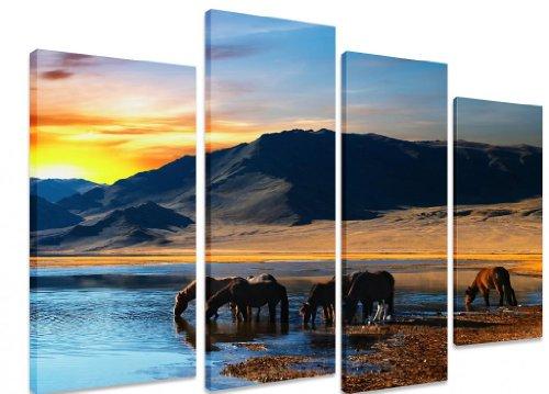 Immagine–multi split pannello canvas Artwork Art–Horses Lake Water Mountains Sunrise Sunset Blue Sky–Art Depot Outlet–4pannelli–101cm x 71cm (101,6x 71,1cm)