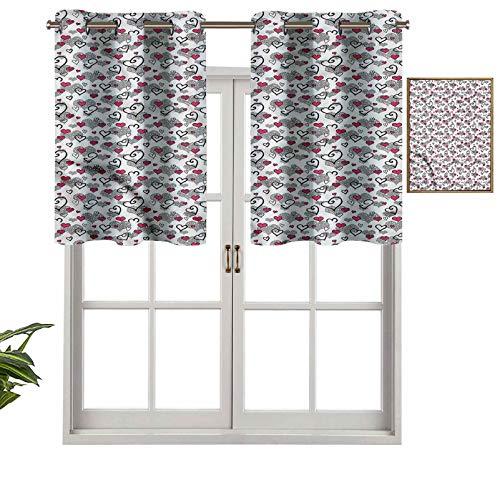Hiiiman - Mantovana oscurante, con mantovana e mantovana per San Valentino, 2 pezzi, 106,7 x 61 cm, per soggiorno, corta, con drappeggio dritto