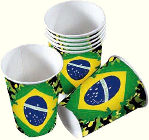 8 Partybecher * BRASILIEN WM 2014 * // Party Pappbecher Becher brasilianische Farben Grün Gelb Weltmeisterschaft Fussball