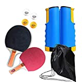 Ping Pong Paddles Set, Household Ping-Pong Game Equipment with 4 Ping-Pong Balls, Retractable Table Tennis Net, Stadium Table Tennis balls for Kids Adults Indoor Outdoor Activities