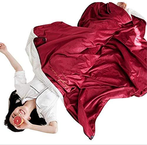 ZSW Manta usable Cubierta de Cortina usable Multiusos y Manta de Franela de Doble Capa Gruesa extendida 145X155cm Verde-Rojo