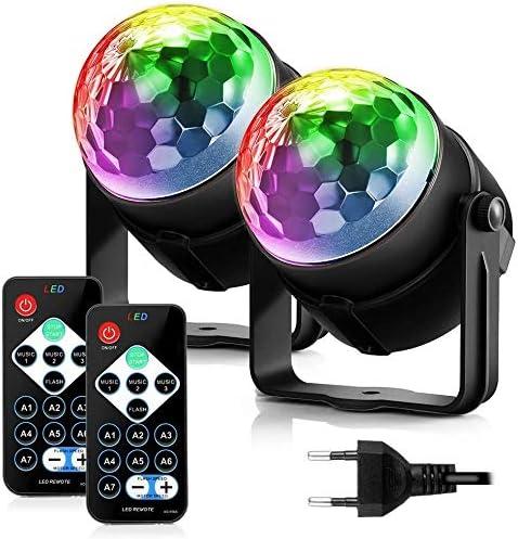FIMEI Boule Disco 2 Pack, Lumière Soirée Lampe de Scène Éclairage de Discothèque Projecteur Effet Spot Stade Télécomm...