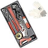 Set de herramientas hidráulicas Yato| tenaza alicates, Llaves inglesa, llave ajustable 250 mm, cinta teflón PTFE 10 m x 12 mm para sellar roscas, profesionales + guantes de trabajo