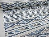 Confección Saymi Tela loneta Estampada 2,45 MTS. Ref. Ibiza Azul, con Ancho 2,80 MTS.