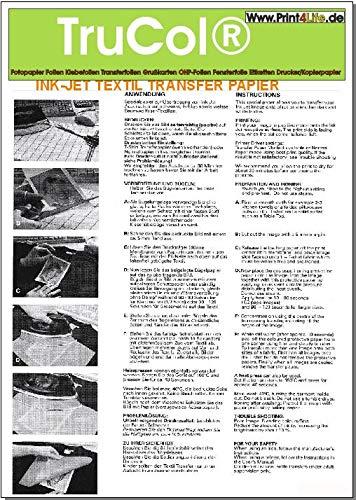 5X A4 Weißes Transfer Papier Transferfolie Spezialpapier zum Bedrucken von schwarzen, farbigen und weissen T-Shirts mit Ink Jet Druckern. Baseball-Caps und Anderen Baumwoll-Textilien