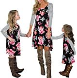 Family Matching Flower Print O-Neck Long Sleeve Short Dress Mommy and Me One Piece Spring Fall Dress (Daughter/8-9 Years)