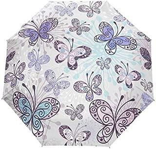 BEESCLOVER Women Flower Umbrella Anti UV Sun Umbrella Purple Ladies Backpack Full Automatic Umbrella 100% Polyester Waterproof Item 6 One Size