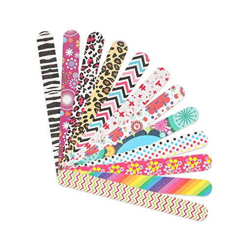 YIMICOO 12PCS Nail Files 150/150 Grit, Emery Boards for Nails, Professional Double Sided Nail File and Buffers for Women Girls Natural Acrylic Nails, Colorful, 7 Inches