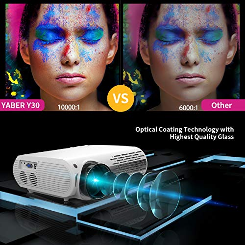 YABER Y30 Native 1080P Projector 7200L Full HD Video Projector 1920 x 1080, ±50° 4D Keystone Correction Support 4k & Zoom,LCD LED Home Theater Projector Compatible with Phone,PC,TV Box,PS4 (White)