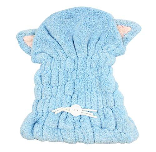 Ranvi microfibre serviette de bain chapeau cheveux séchage rapide serviette chapeau mignon outil de bain super doux cheveux absorbant sec chapeau, (bleu)