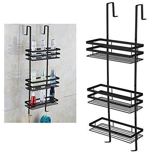 UISEBRT Badregal Duschablage ohne Bohren - Hängeablage 80 cm 3 Böden zum Hängen für die Duschecke, Hygienisch, Schwarz