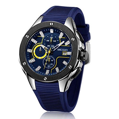 MEGIR Mannen Mode Smartwatches Sport Horloge Chronograaf Siliconen Band Quartz Leger Horloges Klok Mannen Top Merk Luxe Man (Zwart Blauw)