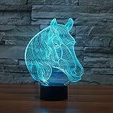 Lámpara 3D LED luz de noche Novedad Animal cebra 7 Cambio de Color Lámpara de Mesa Juguete de Regalo