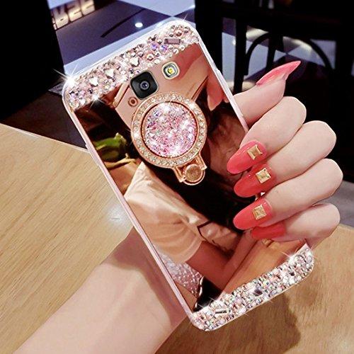 Hancda Custodia per Samsung Galaxy A5 2016 / A510, Cover Custodia Case Specchio Silicone Brillantini Glitter Diamanti Antiurto con Anello Sopporto Ring per Samsung Galaxy A5 2016 / A510,Oro Rosa