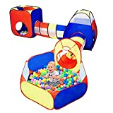 ZJDU Toddler Gym Play Tent with Play Crawl Tunnel Toy,5Pc Kids Play Tent with Ball Pit,Basketball Hoop for Boys & Girls, Toddler Pop Up Playhouse Toy for Baby Indoor/Outdoor