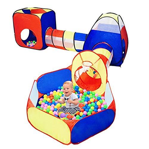 Tienda De Campaña De para Niños Pequeños con Juguete De Túnel De Rastreo,Tienda De Juegos para Niños De 5 Piezas con Hoyo De Bolas,Aro De Baloncesto,Juguete Emergente De La Casa De Juegos