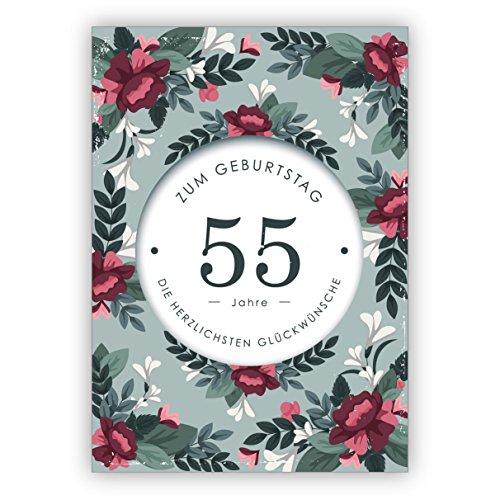 Mooie stijlvolle verjaardagskaart met decoratieve bloemen voor de 55. verjaardag: 55 jaar voor de verjaardag de meest hartelijke felicitaties • direct verzenden met tekst als inlegger